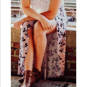 floral maxi slit skirt